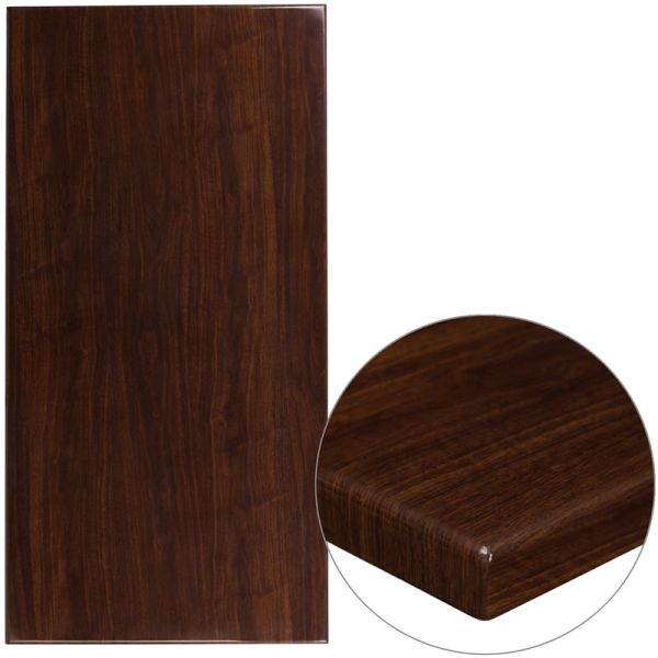 Flash Furniture 30'' x 60'' High-Gloss Walnut Resin Table Top with 2'' Thick Drop-Lip