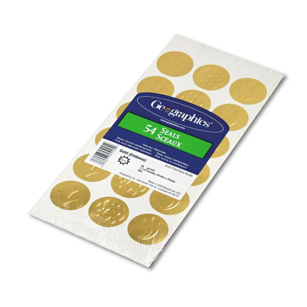"Geographics Self-Adhesive Embossed Seals, 1 1/4"" Dia, Assorted Designs, Gold, 54/Pack"