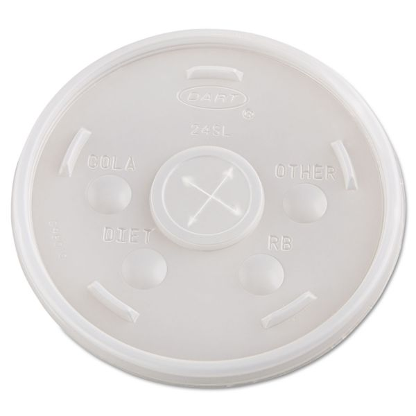 Dart Plastic Straw Slotted Cold Cup Lids
