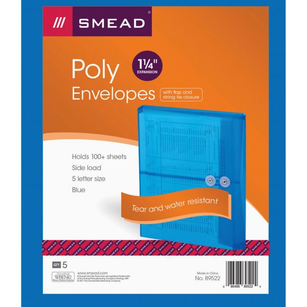 Smead 89522 Blue Poly Envelopes with String-Tie Closure
