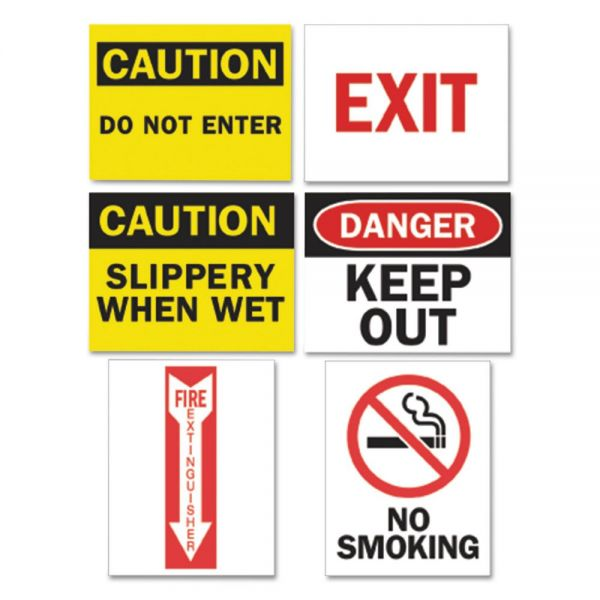 Tarifold, Inc. Magneto Safety Sign Inserts, Six Assorted Messages, 8 3/4 x 11 1/4, 12/Pack
