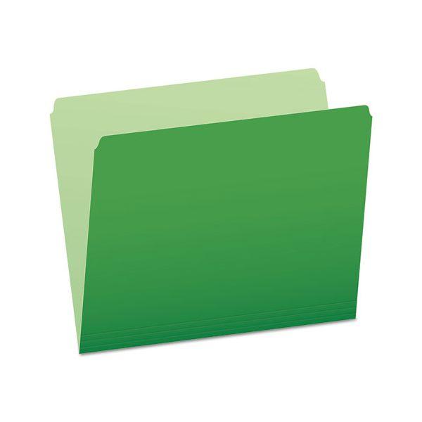 Pendaflex Colored File Folders, Straight Cut, Top Tab, Letter, Green/Light Green, 100/Box