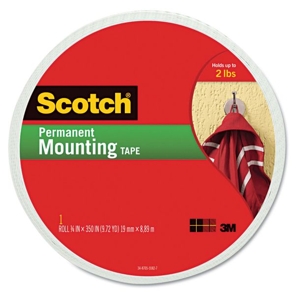 "Scotch Foam Mounting Double-Sided Tape, 3/4"" Wide x 350"" Long"