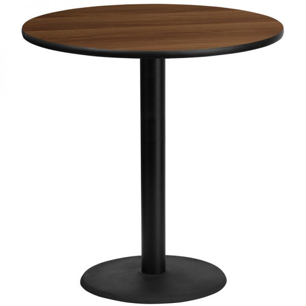 Flash Furniture 42'' Round Walnut Laminate Table Top with 24'' Round Bar Height Table Base
