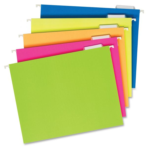 Pendaflex Glow Hanging File Folders, 1/5 Tab, Letter, Glow Assorted, 25/Box