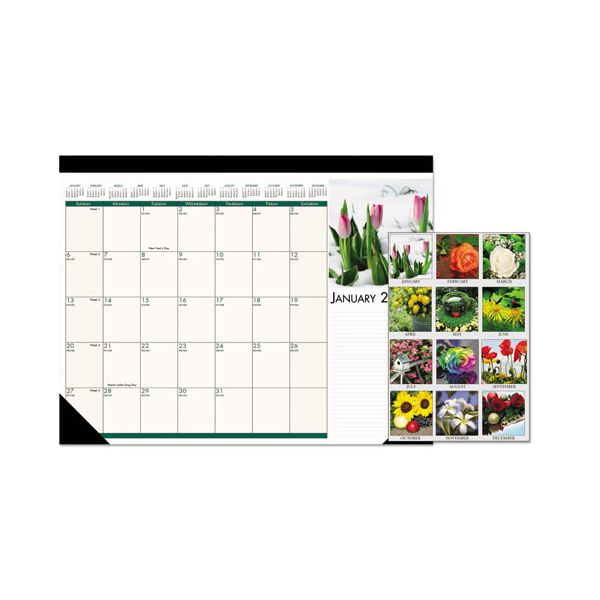 House of Doolittle Recycled Floral Photographic Monthly Desk Pad Calendar, 22 x 17, 2019