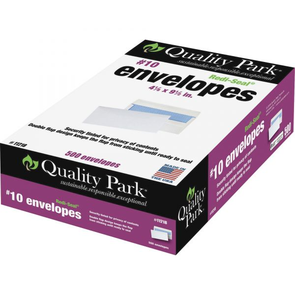 Quality Park #10 Redi Seal Security-Tinted Envelopes, 4 1/8 x 9 1/2, White, 500/Box