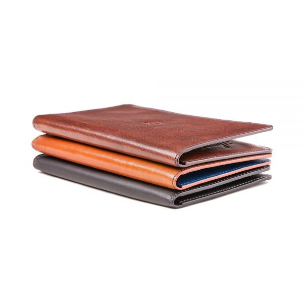 Leather Wallet with iPhone 6/6s Plus Case in Brown/Blue