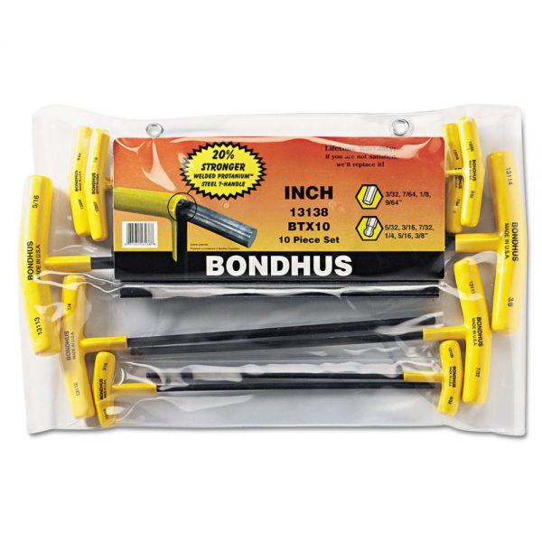 Bondhus Balldriver 10-Piece T-Handle Hex-Key Driver Set, With Pouch