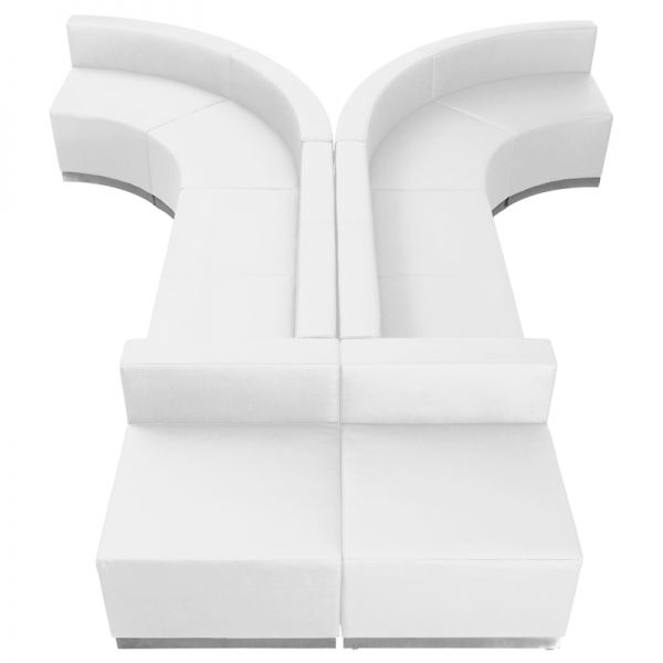 Flash Furniture HERCULES Alon Series Melrose White Leather Reception Configuration, 8 Pieces