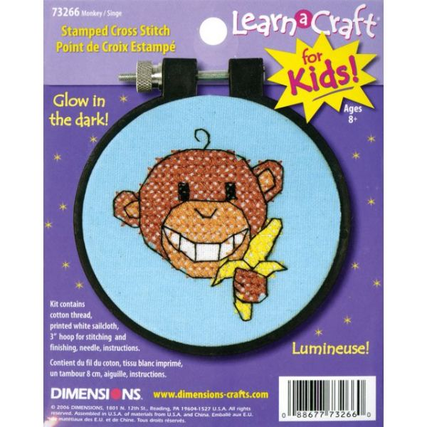 Learn-A-Craft Monkey Stamped Cross Stitch Kit