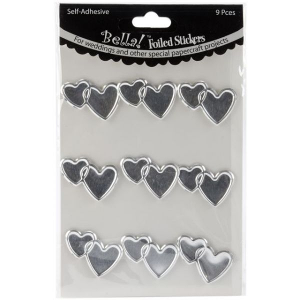 Bella! Wedding Hearts Foil Stickers 9/Pkg