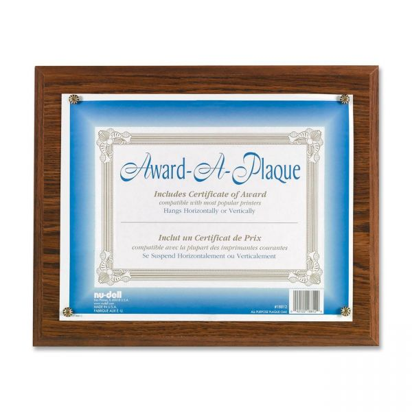 NuDell Award-A-Plaque Document Holder, Acrylic/Plastic, 10-1/2 x 13, Oak