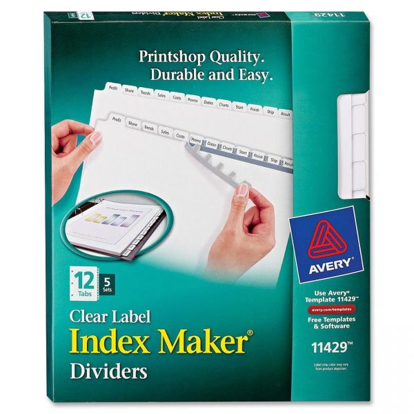 Avery Clear Label 12-Tab Index Maker Dividers