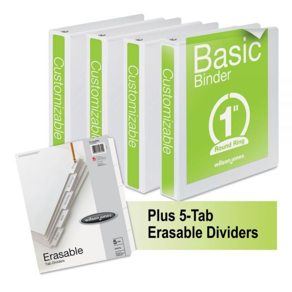 "Wilson Jones Basic 1"" 3-Ring View Binders"