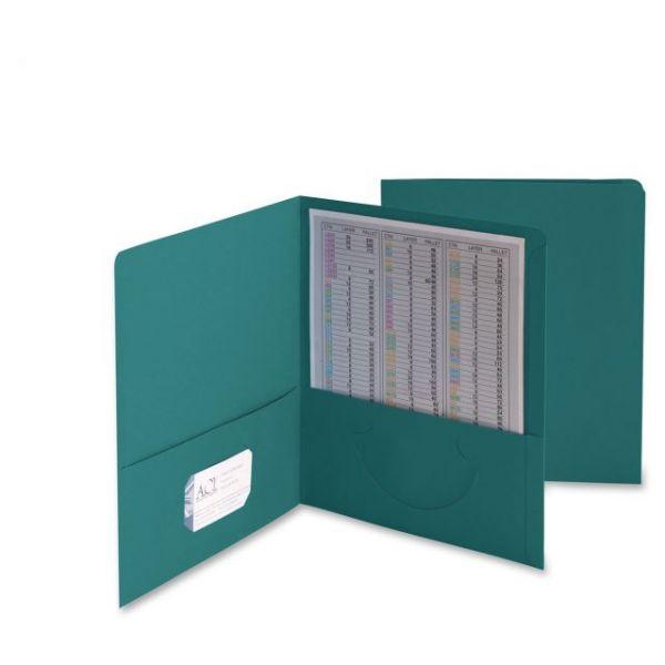 Smead Two-Pocket Folder, 50-Sheet Capacity, Teal, 25/Box