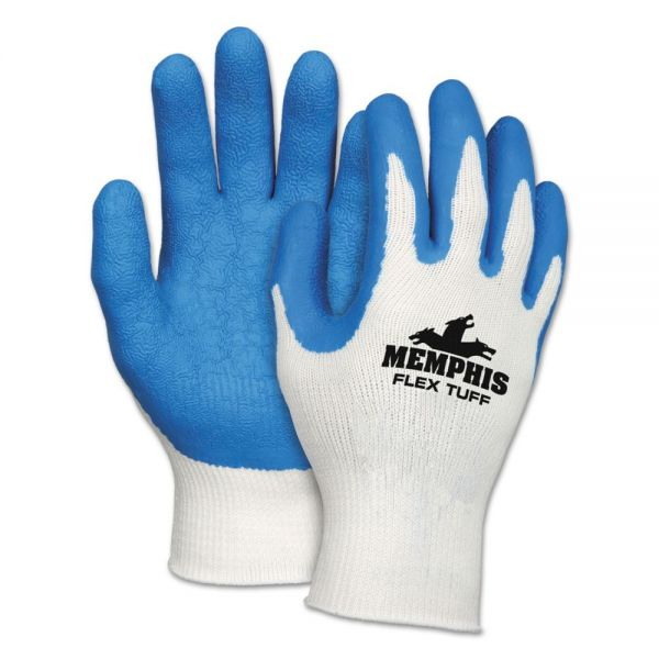 MCR Safety Flex Tuff Work Gloves, White/Blue, Large, 10 gauge, 1 Dozen