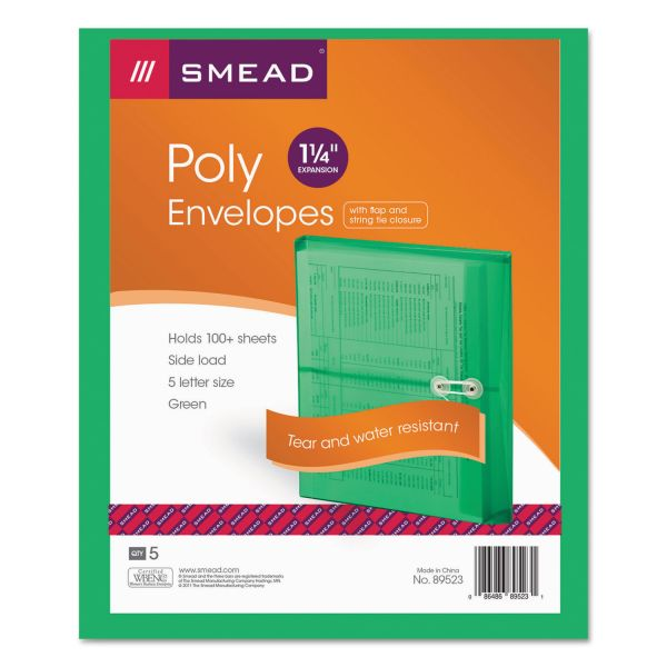Smead Poly String & Button Booklet Envelope, 9 3/4 x 11 5/8 x 1 1/4, Green, 5/Pack