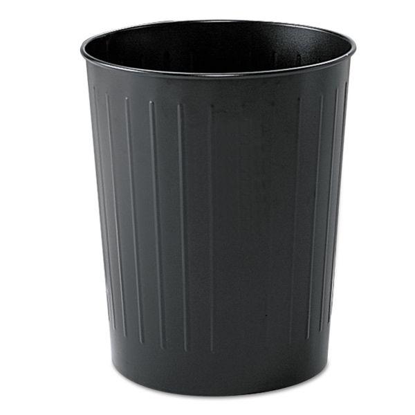 Safco Round Wastebasket, Steel, 23.5qt, Black