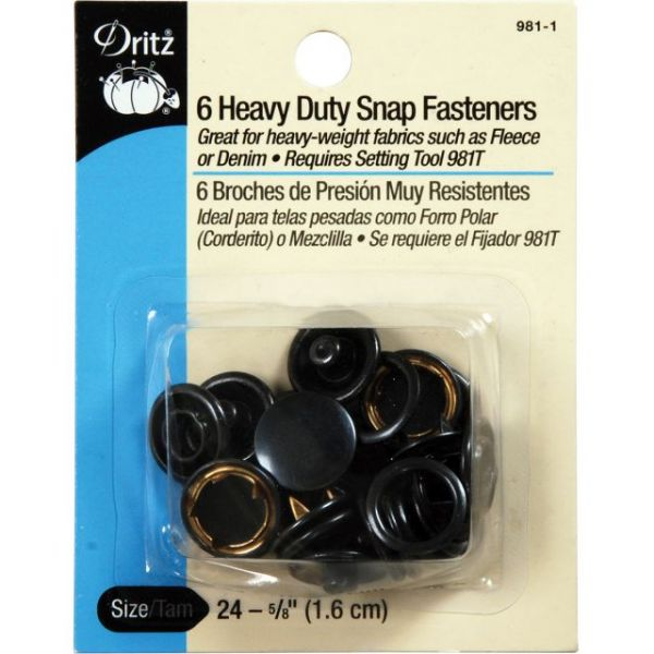 "Heavy-Duty Snap Fasteners 5/8"" 6/Pkg"