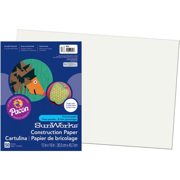 SunWorks Construction Paper, 58 lbs., 12 x 18, White, 50 Sheets/Pack