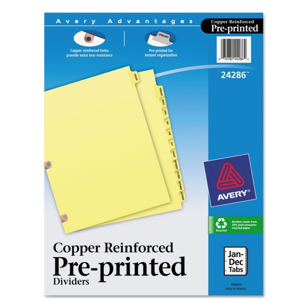 Avery Preprinted Laminated Tab Dividers w/Copper Reinforced Holes, 12-Tab, Letter
