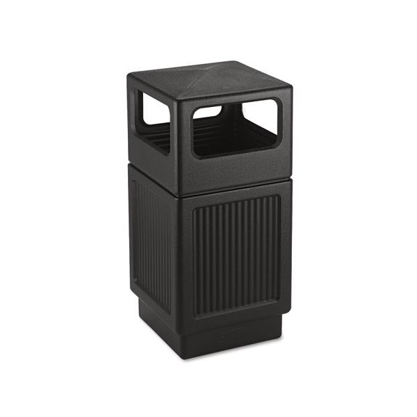 Safco Canmeleon Side-Open Receptacle, Square, Polyethylene, 38gal, Textured Black