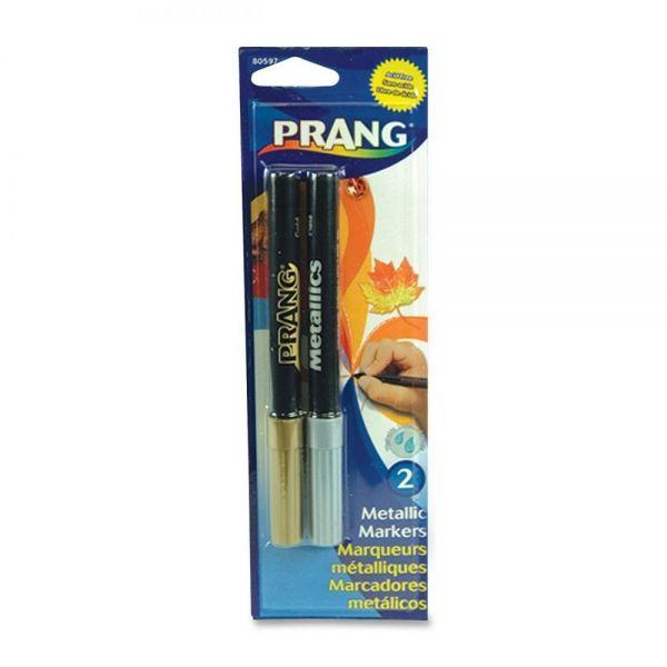 Dixon Prang Washable Markers, Bullet Tip, Gold/Silver, 2/set