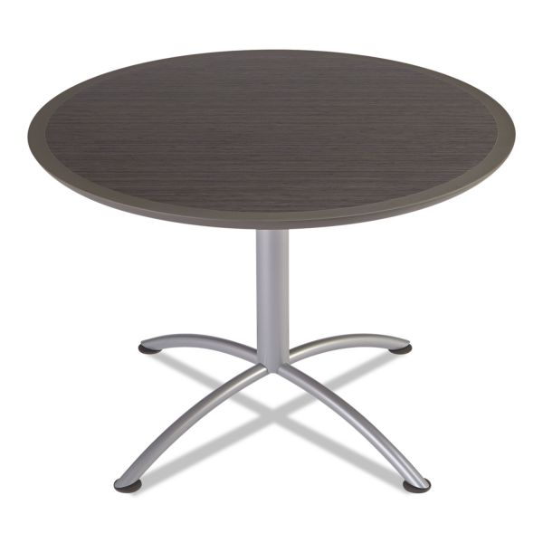 Iceberg iLand Table, Dura Edge, Round Seated Style, 42 dia x 29h, Gray Walnut/Silver