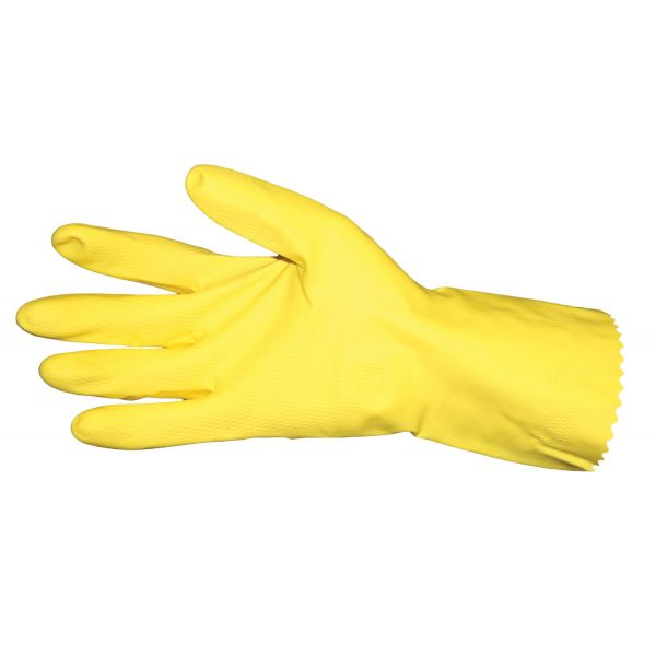 Impact Flock Lined Latex Gloves, Yellow, Small, 1 Dozen