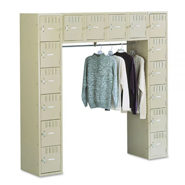 Tennsco Locker w/16 Box Compartments and Coat Bar, 72 x 18 x 72, Sand