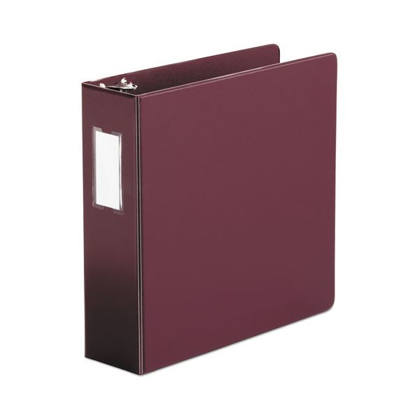 "Universal Economy Non-View 3-Ring Binder With Label Holder, 3"" Capacity, Round Ring, Burgundy"