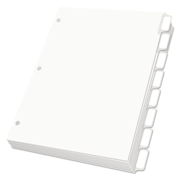 Oxford Custom Label Dividers with Self-Stick Tab Labels, 8-Tab, White Tab, Letter, 5 Sets
