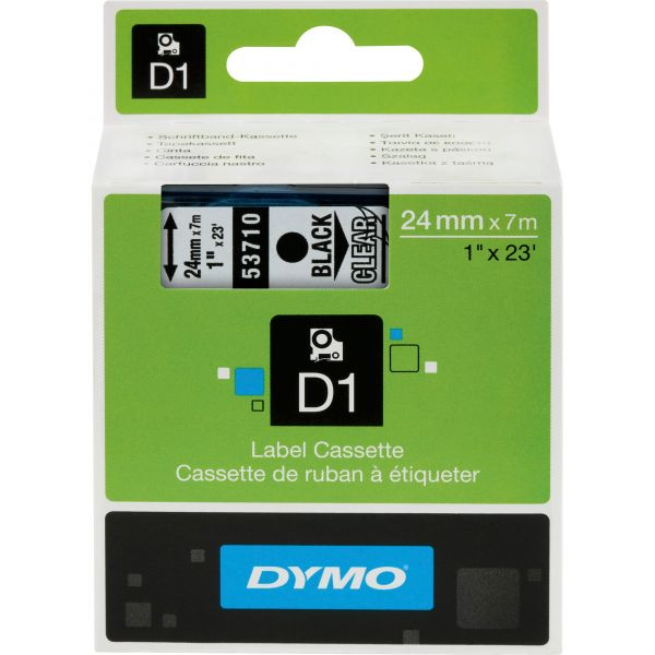 """DYMO D1 High-Performance Polyester Removable Label Tape, 1"""" x 23 ft, Black on Clear"""