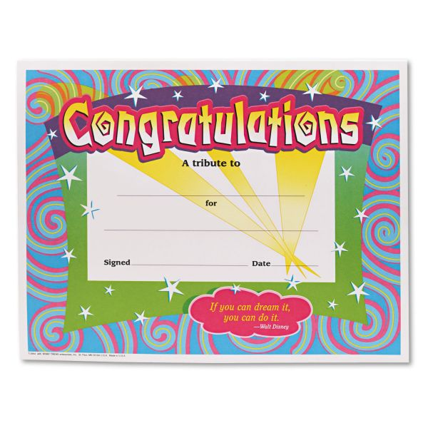 TREND Congratulations Certificates, 8-1/2 x 11, White Border, 30/Pack