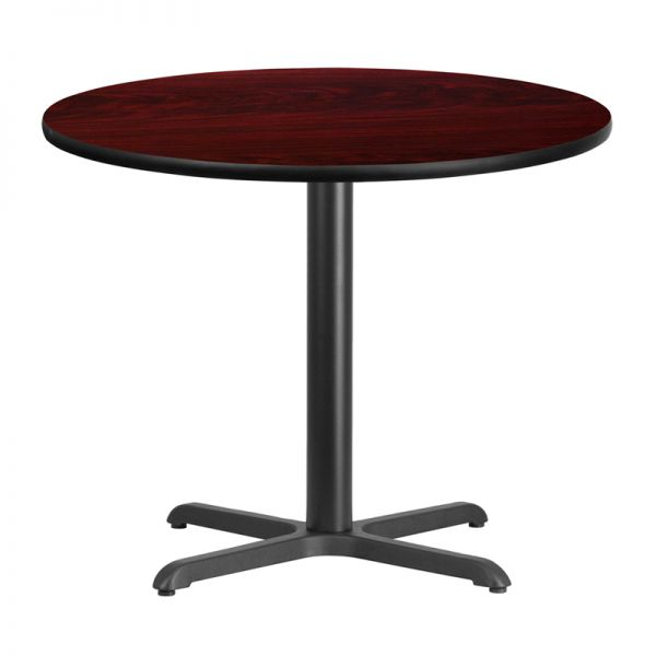 Flash Furniture 36'' Round Mahogany Laminate Table Top with 30'' x 30'' Table Height Base