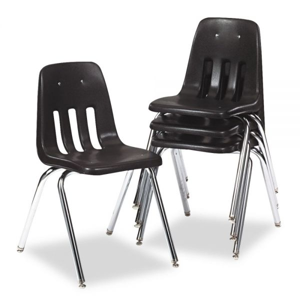 Virco 9000 Series Classroom Chair, Black/Chrome Frame, 4/Carton