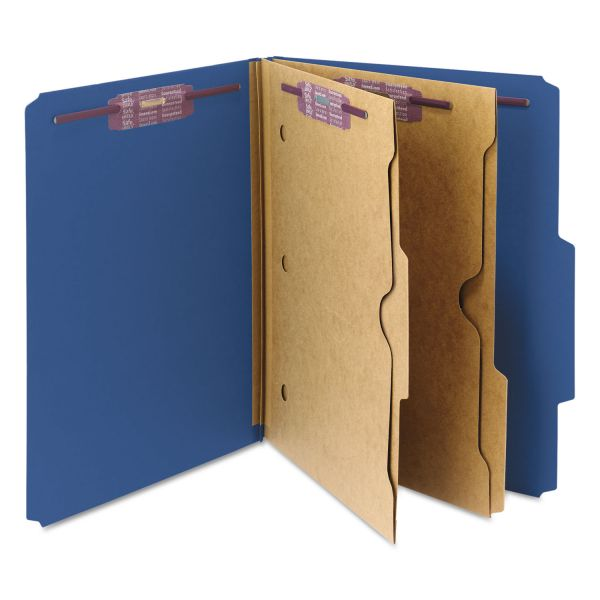 Smead Pressboard Classification Folders, 2 Pocket Dividers, Letter, Dark Blue, 10/Box