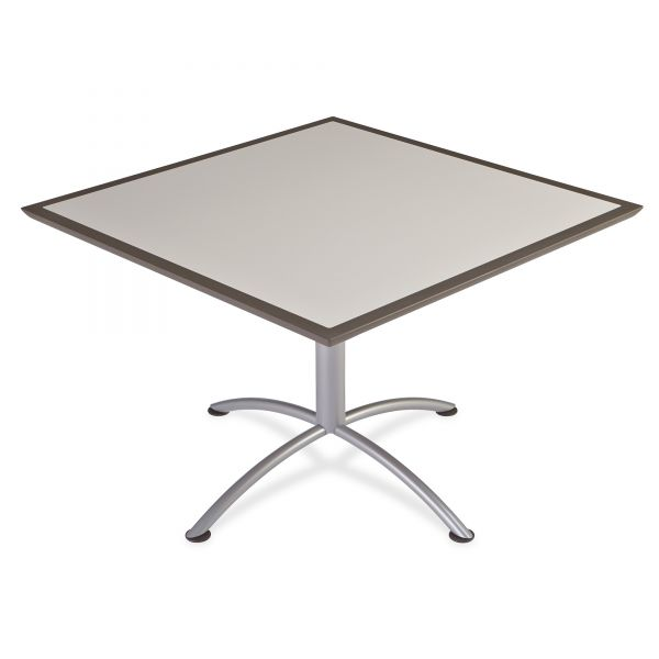 Iceberg iLand Table, Dura Edge, Square Seated Style, 42w x 42d x 29h, Gray/Silver