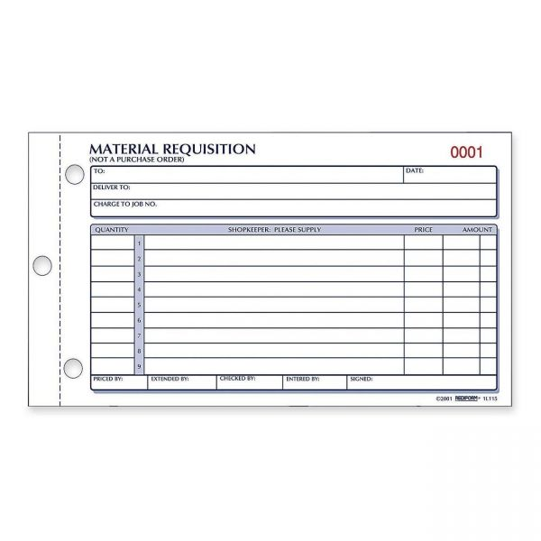 Rediform Material Requisition Purchasing Forms