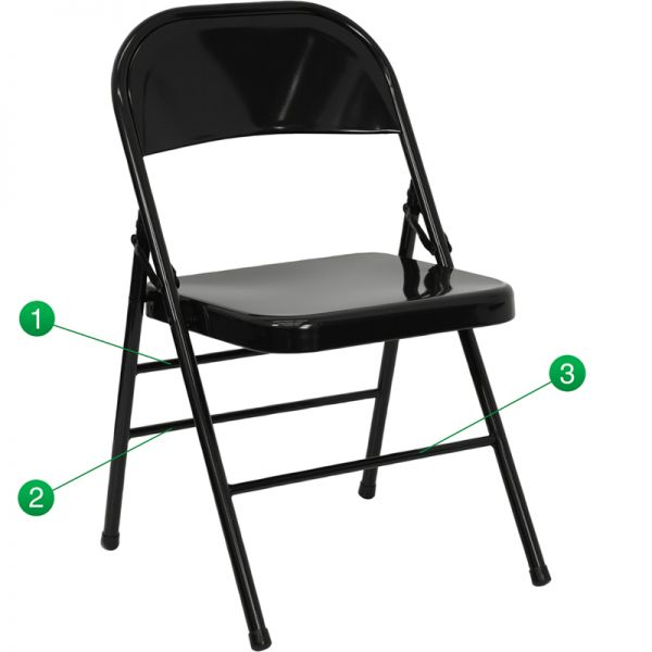 Flash Furniture HERCULES Series Triple Braced & Quad Hinged Black Metal Folding Chair [HF3-MC-309AS-BK-GG]
