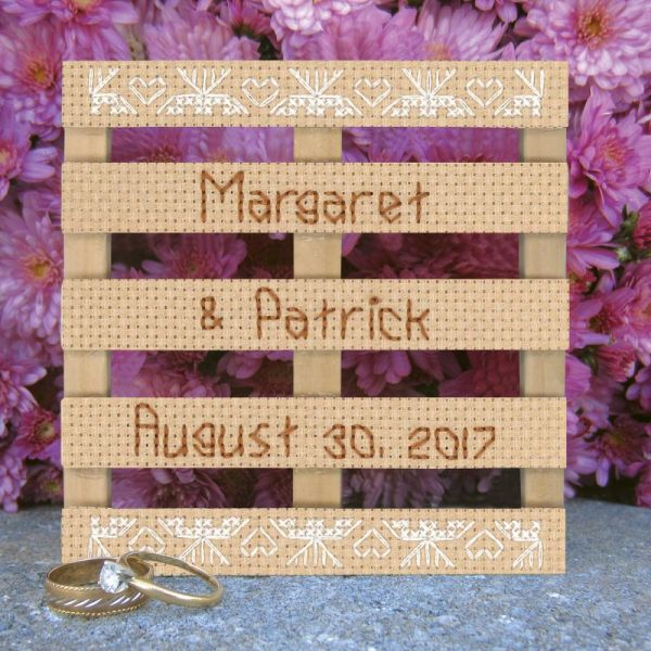 Wood Pallet Lace Wedding Announcement Counted Cross Stitch K