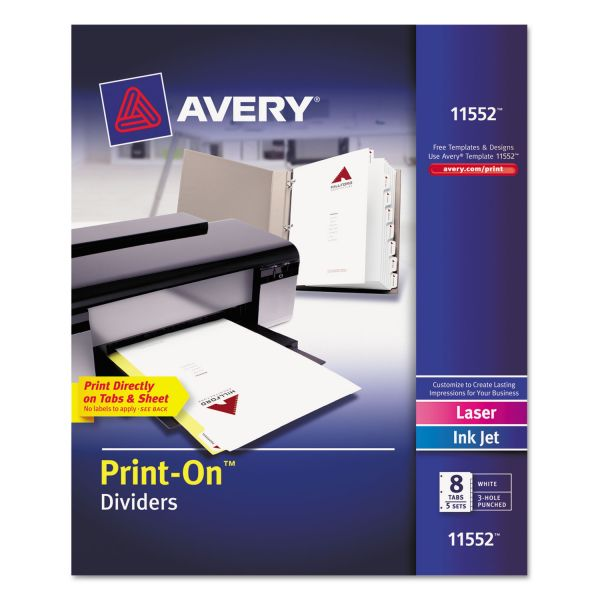Avery Customizable Print-On Dividers, 8-Tab, Letter, 5 Sets
