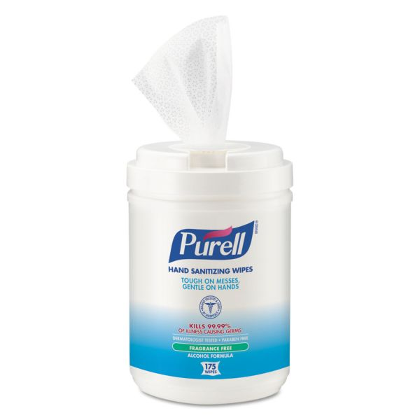 PURELL Premoistened Sanitizing Wipes, Alcohol Formulation, 6 x 7, White, 175/Canister