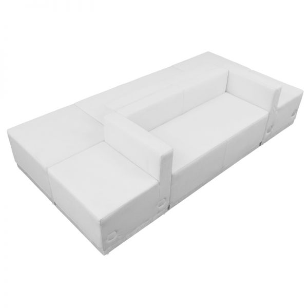 Flash Furniture HERCULES Alon Series White Leather Reception Configuration, 6 Pieces