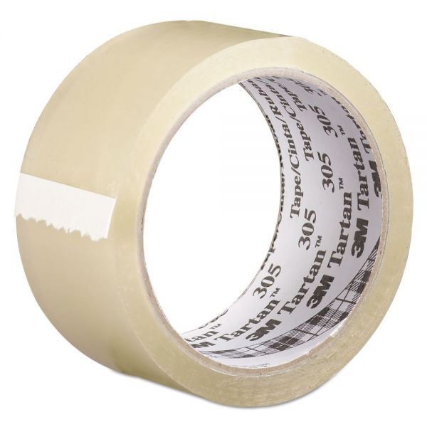 "Tartan 305 Box Sealing Tape, 72 mm x 100 m, 3"" Core, Clear, 24/Carton"
