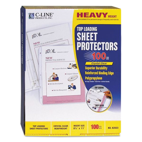 C-Line Top Loading Polypropylene Sheet Protector, Letter, Heavyweight, Clear, 100/Box