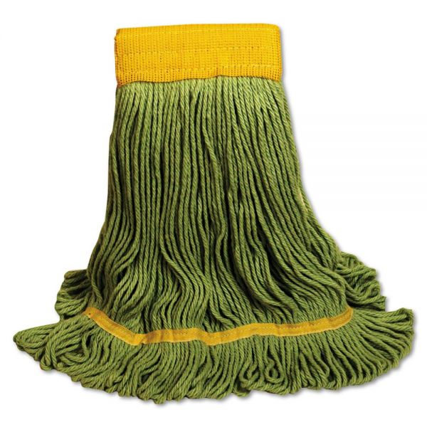 Boardwalk EcoMop Looped-End Mop Head, Recycled Fibers, Large Size, Green, 12/Carton