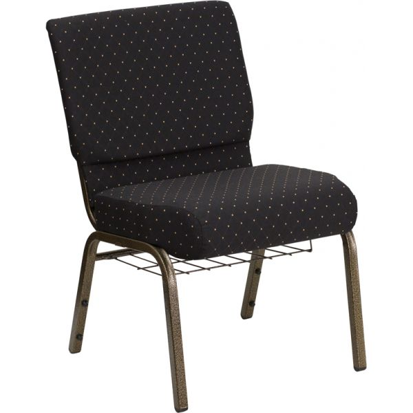 Flash Furniture Black Dot Patterned Fabric Church Chair