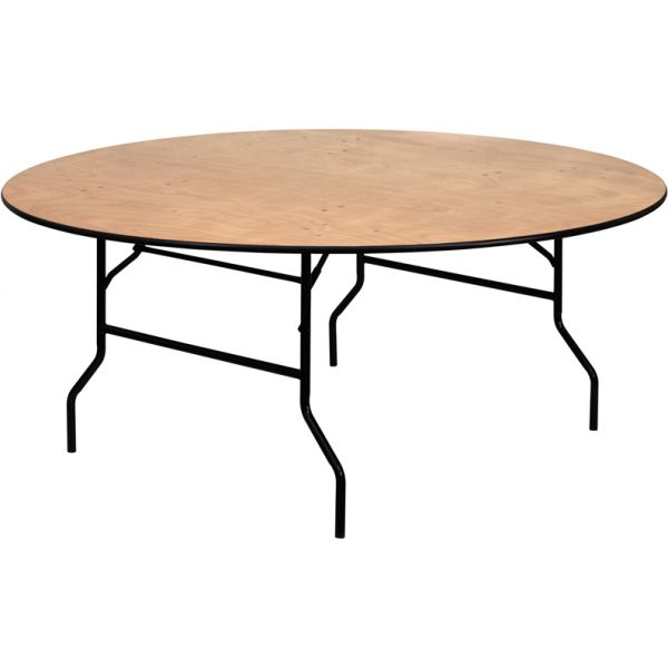 Flash Furniture 72'' Round Wood Folding Banquet Table with Clear Coated Finished Top [YT-WRFT72-TBL-GG]